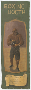 Banner for a carnival booth featuring Jack Johnson