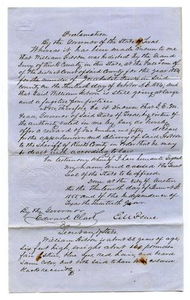 [Proclamation from Governor E.M. Pease Regarding Criminal Fugitives, June 13, 1855]