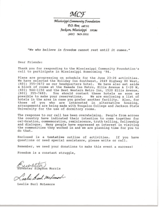Letter from Euvester Simpson Morris and Leslie Burl McLemore to Mississippi Civil Rights Workers