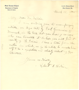 Letter from Robert T. Kerlin to W. E. B. Du Bois
