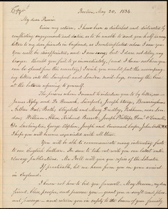 Copy of letter from William Lloyd Garrison, Boston, [Mass.], to Robert Purvis, May 20, 1834