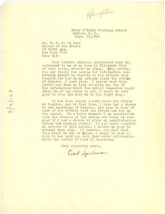 Letter from Cecil Spellman to W. E. B. Du Bois
