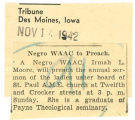Negro WAAC to preach; Tribune (Des Moines, Iowa); Women's military activity