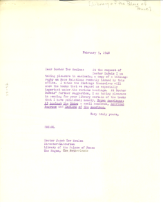 Letter from Edwin R. Embree to Library of the Palace of Peace