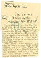 Negro officer seeks recruits for WAAC; Gazette (Cedar Rapids, Iowa); Women's military activity