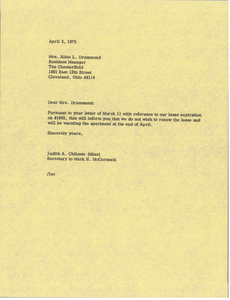 Letter from Judy A. Chilcote to Alice L. Drummond