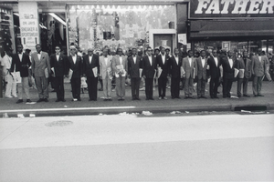 Untitled NYC (125th Street) (group of men on curb, wearing suits...), from the series Hats and Hat Nots