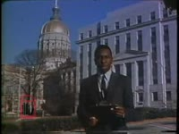 WSB-TV newsfilm clip of reporter Lo Jelks commenting on the controversy surrounding the Board of Regent's confirmation of Dean Rusk's appointment to the faculty of the University of Georgia, Atlanta, Georgia, 1969 December 28