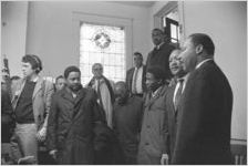 Martin Luther King, Jr., being interviewed at Tabernacle Baptist Church in Selma, Alabama