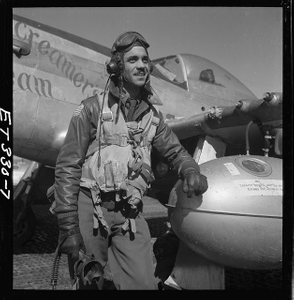[Edward C. Gleed, Tuskegee pilot, standing, three-quarter length portrait]