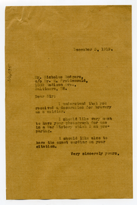 Letter from W. E. B. Du Bois to Nicholas Rodgers