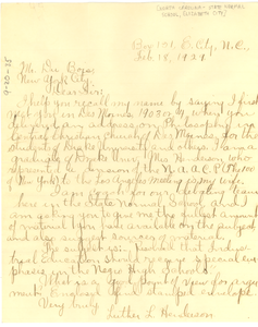 Letter from Luther L. Henderson to W. E. B. Du Bois