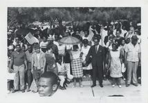"""Mississippi State Sovereignty Commission photograph of John Hewelett at a rally connected with the """"Walk Against Fear,"""" state capitol, Jackson, Mississippi, 1966 June 26"""
