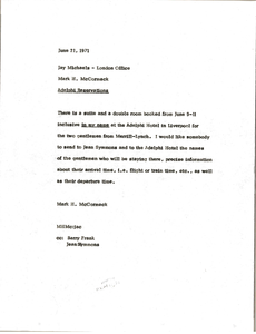 Memorandum from Mark H. McCormack to Jay Michaels