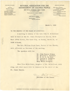 Circular letter from NAACP to W. E. B. Du Bois