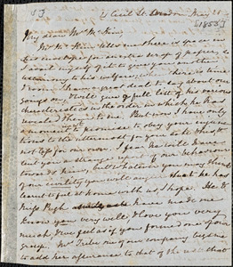 Letter from Mary Anne Estlin, London, [England], to Sarah Allibone Speakman McKim, [1853] May 21