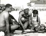 Mr. and Mrs. Irwin J. Stewart and daughter Lynne on Chicken Bone Beach in Atlantic City, New Jersey