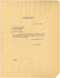 Letter from W. E. B. Du Bois to Alpha Phi Alpha