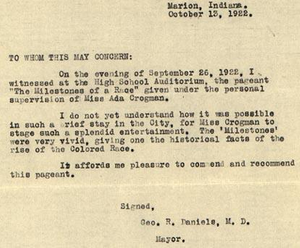 Letter from G R Daniels