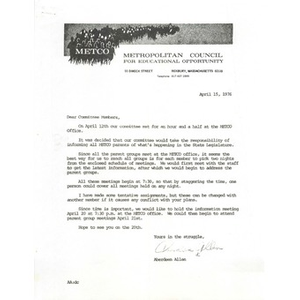 Letter, METCO parent committee members, April 15, 1976