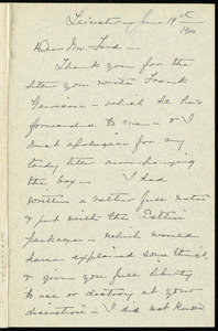 Letter from Elizabeth G. May, Leicester, [Mass.], to Worthington Chauncey Ford, June 14th, 1900