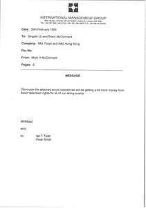 Memorandum from Mark H. McCormack to Shigeki Uji, Breck McCormack