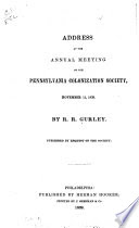 Address at the annual meeting of the Pennsylvania colonization society