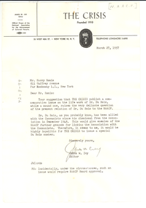 Letter from Crisis to Harry Ronis