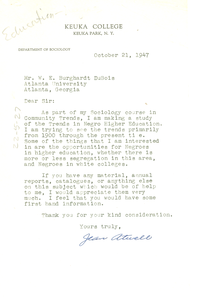 Letter from Jean Atwell to W. E. B. Du Bois