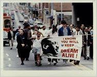 Marcher walk toward MLK Center May 23 1991