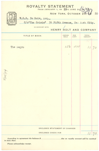 Royalty statement from January 1, 1920 to June 30, 1920