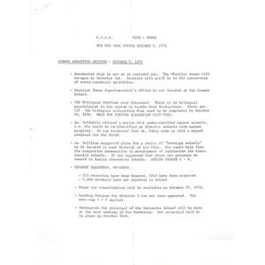 CWEC news notes for week ending October 8, 1976