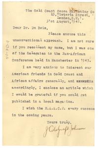 Letter from J. Colegraft to W. E. B. Du Bois