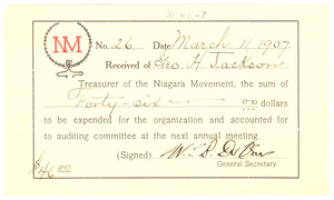 Niagara Movement Receipt no. 26