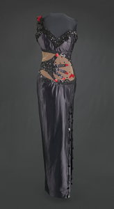 Black satin dress with hand-shaped decoration designed by Peter Davy