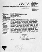 Letter: Atlanta, Georgia, to James Dombrowski, New Orleans, Louisiana, 1961 October 2