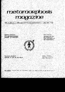 Metamorphosis Magazine Vol. 5, No. 2 (April–May 1986)