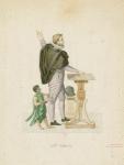 Dramatically gesturing nobleman in Italian Renaissance attire accompanied by black child