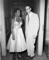 Jazz singer Sarah Vaughan appears at WGY radio with announcer Bill Carpenter