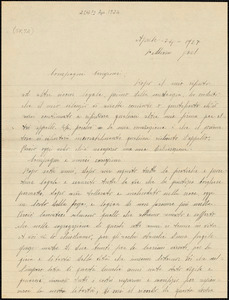 "Nicola Sacco autographed letter signed to ""Compagni carissimi"", Dedham, 24 April 1927"