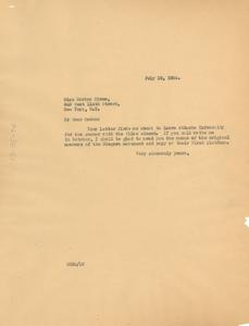 Letter from W. E. B. Du Bois to Marian Minus