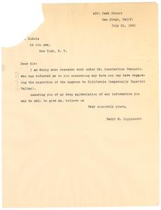 Letter from Beryl M. Lippincott to W. E. B. Du Bois