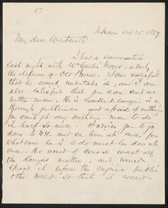 Charles W. Elliott autograph letter signed to Thomas Wentworth Higginson, New Haven, 25 October 1859
