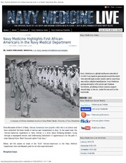Navy Medicine Highlights First African Americans In The Navy Medical Department