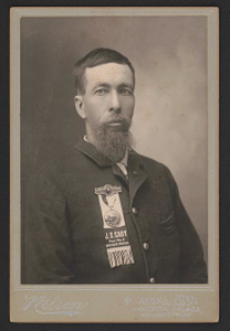 [Civil War veteran Alfred Colburn of Co. K, 1st Minnesota Infantry Regiment and 2nd Minnesota Light Artillery Battery with J.S. Cady Post No. 2 ribbon]