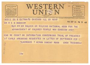 Telegram from Chicago Tribune to W. E. B. Du Bois