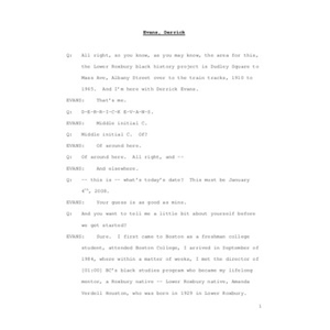 Interview with Derrick Evans, January 4, 2008 [transcript]