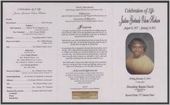 "Celebration of life Justine Gertrude Odom Hickson, August 21, 1917-January 14, 2011, Friday, January 21, 2011, 11:00 a.m., Friendship Baptist Church, 515 Richland Avenue, Aiken, S. C., Reverend Clinton""TC"" Edwards, pastor"