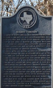 [Texas Historical Commission Marker: Hendrix Cemetery]
