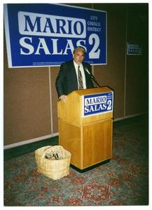 [Mario Marcel Salas Behind Podium] Mario Marcel Salas Papers